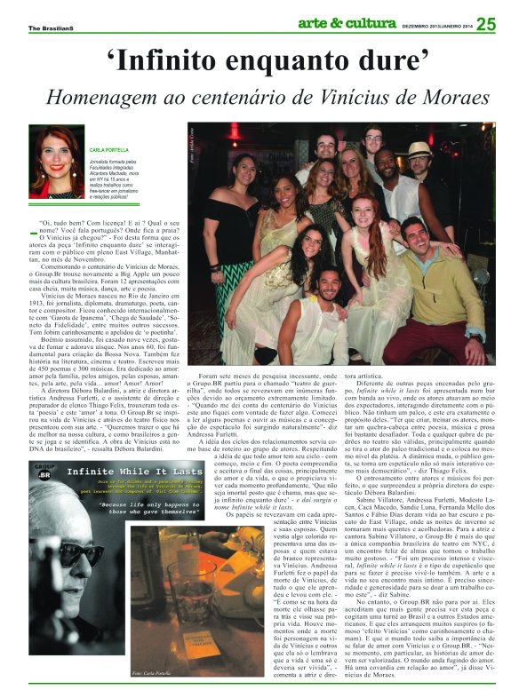 • THE BRAZILIANS - Infinite While It Lasts The Brasilians with Sabine's interview about the show: http://www.thebrasilians.com/